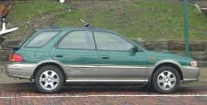 Green Impreza Outback Sport wagon